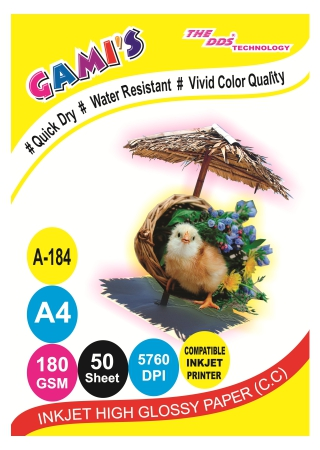 180gsm A4 Inkjet Photo Glossy Paper(50 sheets)